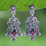 Marcasite and garnet dangle earrings, 'Royal Illusion'