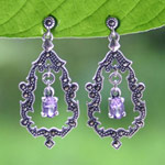 Marcasite and amethyst dangle earrings, 'Timeless Treasures'