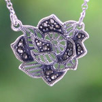 Marcasite and silver necklace, 'Dawn Blossom'
