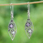 Marcasite and blue topaz dangle earrings, 'Natural Chic'