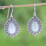 Marcasite and jade dangle earrings, 'Chlorophyll Shields'