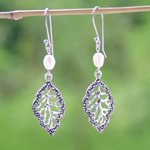 Marcasite and pearl dangle earrings, 'Shiny Leaves'