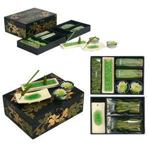 Incense and candle set, 'Green Chilly'
