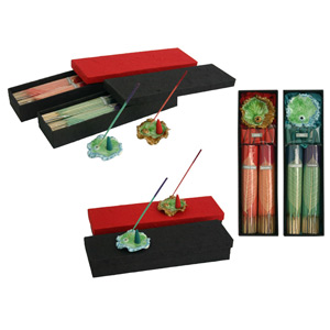 Incense and ceramic holder set, 'Lotus Tranquility'