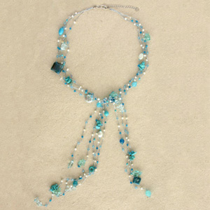 Topaz and pearls necklace, 'Tropical Storm'