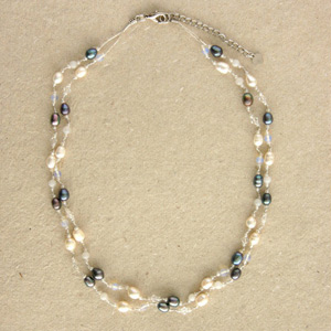 Pearl and quartz strand necklace, 'Delicate Charm'