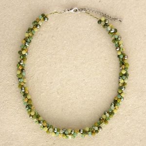 Jade and citrine cluster necklace, 'Green Mystery'