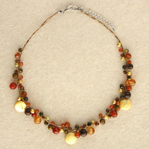 Carnelian and tiger eye cluster necklace, 'Summer Fruits'
