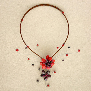Garnet and ceramic choker, 'Red Flowers'