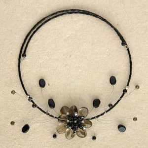 Quartz and ceramic flower necklace, 'Black Queen'