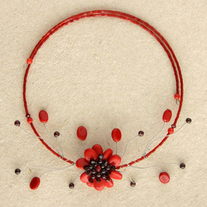 Garnet and ceramic flower necklace, 'Red Queen'