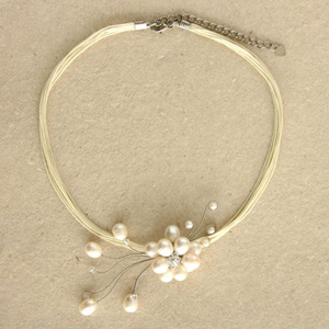 Pearls and glass flower necklace, 'Arctic Blossom'