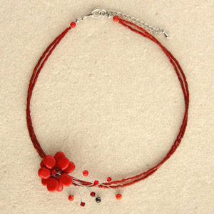 Garnet and ceramic wrap necklace, 'Red Blossom'