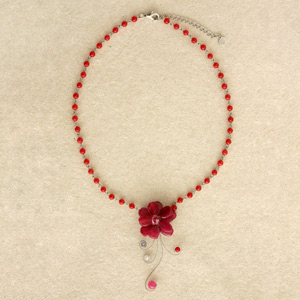 Quartzite flower necklace, 'Red Glow'