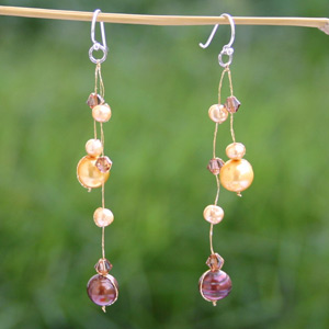 Pearl dangle earrings, 'Gold'