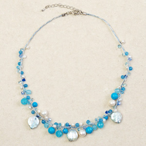 Pearl and dyed topaz necklace, 'Ocean Fruits'