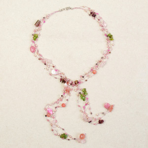 Rose quartz and pearls necklace, 'Candy Rainfall'