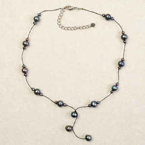 Pearl pendant necklace, 'Lustrous Gray'