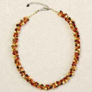 Carnelian and tiger eye necklace, 'Orange Mystery'