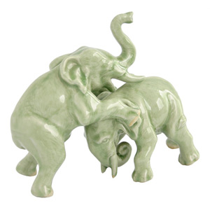 Celadon ceramic statuettes, 'Elephant Battle'