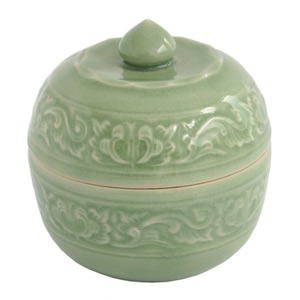 Celadon ceramic box, 'Floral Ring'