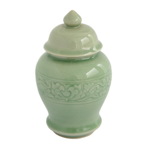 Celadon ceramic jar, 'Floral Ring'