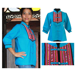 Linen and cotton tunic, 'Chiang Mai Azure'