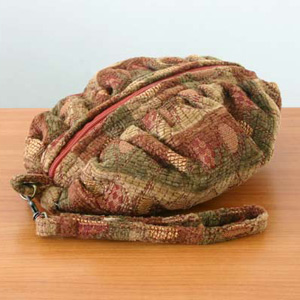 Cotton cosmetic handbag, 'Cinnamon Cells'