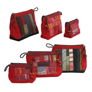 Cotton cosmetics handbags (set of 3), 'Red Dawn'