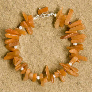 Jade and pearl bracelet, 'Orange Augury'
