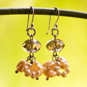 Pearl and glass cluster earrings, 'Classic'