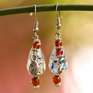 Carnelian and glass earrings, 'Siam Kiss'