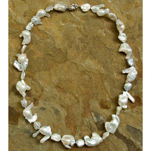 Pearl and silver necklace, 'Baroque Symphony'
