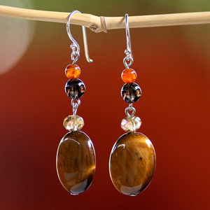 Tiger eye earrings, 'Golden Lights'