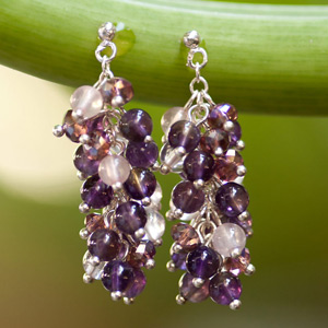 Amethyst and quartz earrings, 'Grapes'