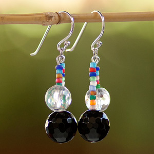 Agate and crystal earrings, 'Universal Colors'