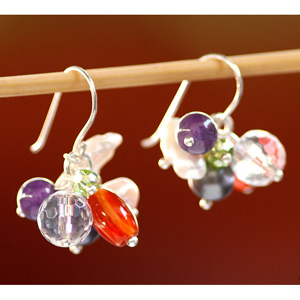 Mixed gemstones earrings, 'Flower Fair'