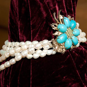 Pearl, silver and turquoise necklace, 'Blue Flower'