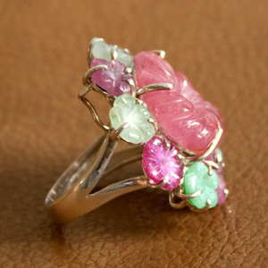 Ruby, jade and citrine ring, 'Forest Bouquet'