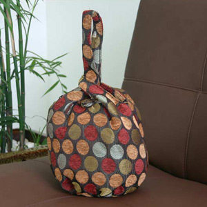 Cotton handbag, 'Bubbling Cherries' (loop)