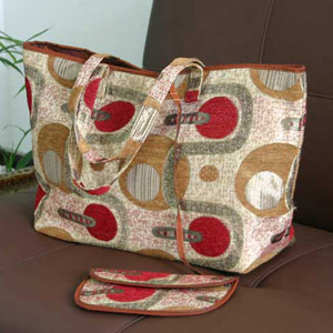 Cotton handbag and purse, 'Champagne Party'