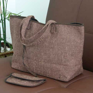 Cotton handbag and purse, 'Iced Coffee'