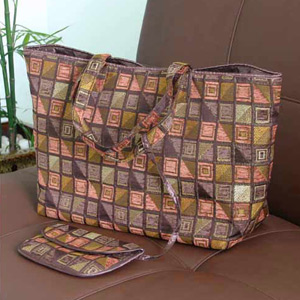 Cotton handbag and purse, 'Chocolate Cubism'