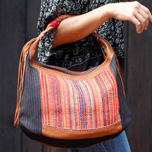 Leather and cotton handbag, 'Cultural Blend'