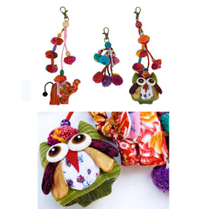 Cotton and wood ornaments, 'Lisu Forest Festival' (set of 3)
