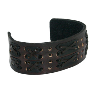 Leather bangle, 'Weave'