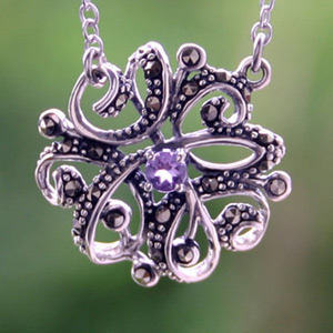 Marcasite and amethyst necklace, 'Enchantment'