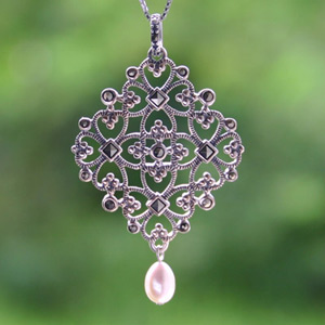 Marcasite and pearl pendant necklace, 'Siam Maze'