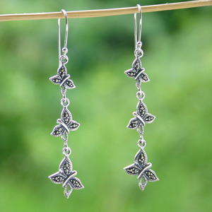 Marcasite and silver dangle earrings, 'Silent Flutters'