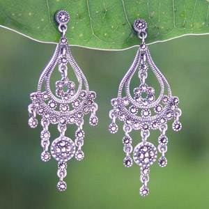 Marcasite and silver dangle earrings, 'Waterfalls'